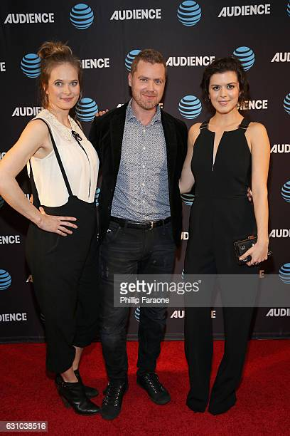 Actors Rachel Blanchard Greg Poehler and Priscilla Faia attend ATT AUDIENCE Network Presents at 2017 Winter TCA at Langham Hotel on January 5 2017 in...