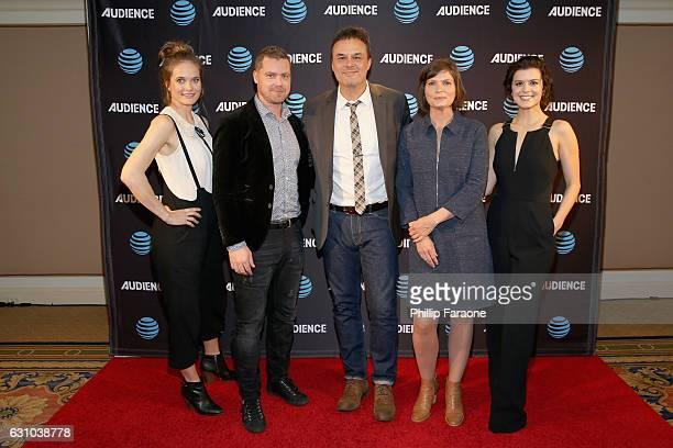 Actors Rachel Blanchard Greg Poehler film writer John Scott Shepherd writer/director Sara St Onge and actress Priscilla Faia attend ATT AUDIENCE...
