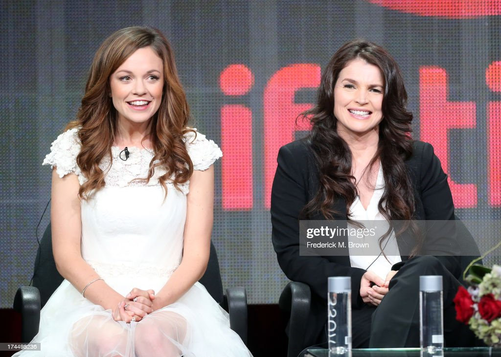 Actors <a gi-track='captionPersonalityLinkClicked' href=/galleries/search?phrase=Rachel+Boston&family=editorial&specificpeople=212849 ng-click='$event.stopPropagation()'>Rachel Boston</a> and <a gi-track='captionPersonalityLinkClicked' href=/galleries/search?phrase=Julia+Ormond&family=editorial&specificpeople=215234 ng-click='$event.stopPropagation()'>Julia Ormond</a> speak onstage during the 'Witches of East End' panel discussion at the Lifetime portion of the 2013 Summer Television Critics Association tour - Day 3 at the Beverly Hilton Hotel on July 26, 2013 in Beverly Hills, California.