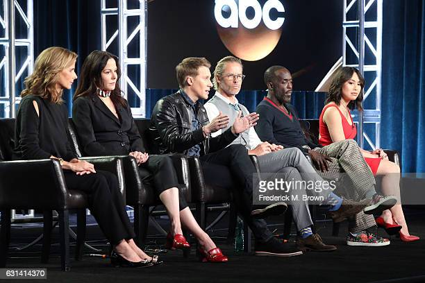Actors Rachel Griffiths and MaryLouise Parker Creator/Executive Producer Dustin Lance Black and actors Guy Pearce Michael K Williams and Ivory Aquino...
