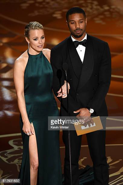 Actors Rachel McAdams and Michael B Jordan speak onstage during the 88th Annual Academy Awards at the Dolby Theatre on February 28 2016 in Hollywood...