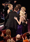 Actors Rachel McAdams Mark Ruffalo Liev Schreiber and Naomi Watts celebrate 'Spotlight' winning Best Picture during the 88th Annual Academy Awards at...