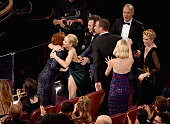 Actors Rachel McAdams Mark Ruffalo Liev Schreiber Michael Keaton and Naomi Watts celebrate 'Spotlight' winning Best Picture during the 88th Annual...