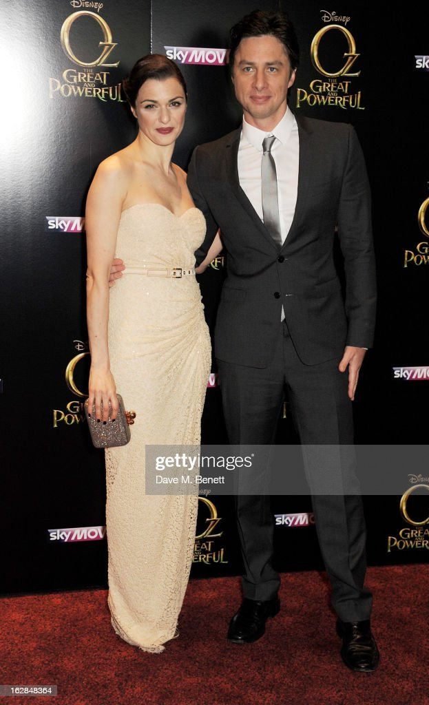 Actors Rachel Weisz (L) and Zach Braff attend the European Premiere of 'Oz: The Great and Powerful' at Empire Leicester Square on February 28, 2013 in London, England.
