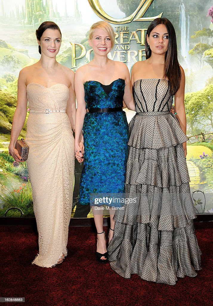 Actors Rachel Weisz, Michelle Williams and Mila Kunis attend the European Premiere of 'Oz: The Great and Powerful' at Empire Leicester Square on February 28, 2013 in London, England.