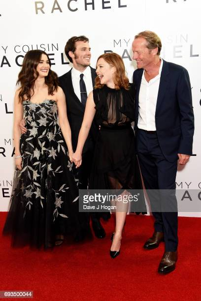 Actors Rachel Weisz Sam Claflin Holliday Grainger and Iain Glen attend the World premiere of 'My Cousin Rachel' at Picturehouse Central on June 7...