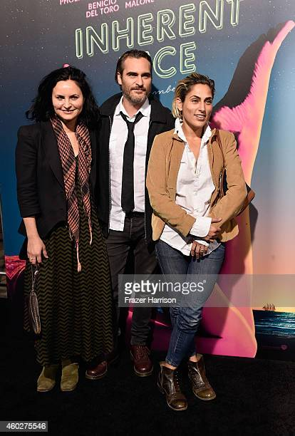 Actors Rain Phoenix Joaquin Phoenix and Summer Phoenix attend the premiere of Warner Bros Pictures' 'Inherent Vice' at TCL Chinese Theatre on...