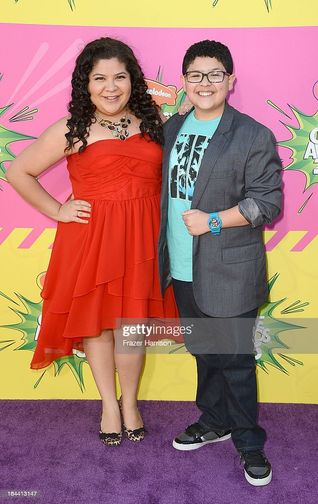 Actors Raini Rodriguez (L) and Rico Rodriguez arrive at Nickelodeon's 26th Annual Kids' Choice Awards at USC Galen Center on March 23, 2013 in Los Angeles, California.