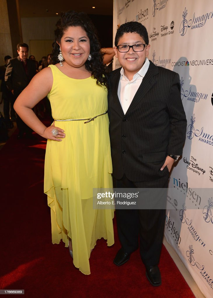 Actors <a gi-track='captionPersonalityLinkClicked' href=/galleries/search?phrase=Raini+Rodriguez&family=editorial&specificpeople=5659055 ng-click='$event.stopPropagation()'>Raini Rodriguez</a> and Rico Rodriguez arrive to the 28th Annual Imagen Awards at The Beverly Hilton Hotel on August 16, 2013 in Beverly Hills, California.