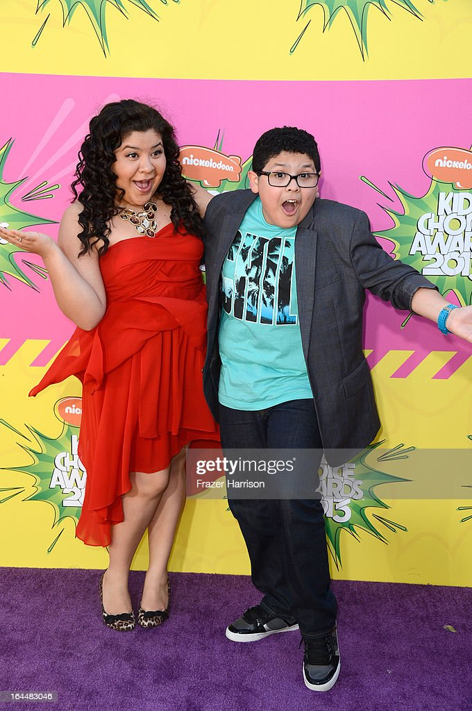 Actors Raini Rodriguez (L) and Rico Rodriguez arrives at Nickelodeon's 26th Annual Kids' Choice Awards at USC Galen Center on March 23, 2013 in Los Angeles, California.