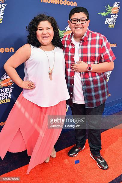 Actors Raini Rodriguez and Rico Rodriguez attend the Nickelodeon Kids' Choice Sports Awards 2015 at UCLA's Pauley Pavilion on July 16 2015 in...
