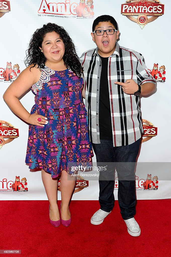 Actors Raini Rodriguez and Rico Rodriguez attend the premiere of 'Annie' at the Hollywood Pantages Theatre on October 13 2015 in Hollywood California