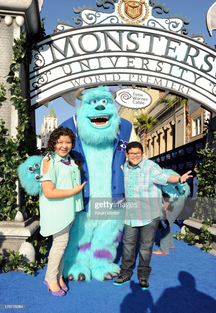 Actors <a gi-track='captionPersonalityLinkClicked' href=/galleries/search?phrase=Raini+Rodriguez&family=editorial&specificpeople=5659055 ng-click='$event.stopPropagation()'>Raini Rodriguez</a> and Rico Rodriguez attend the world premiere of Disney Pixar's 'Monsters University' at the El Capitan Theatre on June 17, 2013 in Hollywood, California.