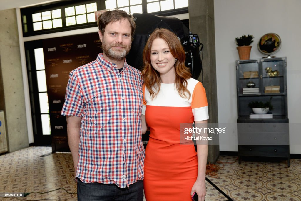 Actors <a gi-track='captionPersonalityLinkClicked' href=/galleries/search?phrase=Rainn+Wilson&family=editorial&specificpeople=534993 ng-click='$event.stopPropagation()'>Rainn Wilson</a> and <a gi-track='captionPersonalityLinkClicked' href=/galleries/search?phrase=Ellie+Kemper&family=editorial&specificpeople=6123842 ng-click='$event.stopPropagation()'>Ellie Kemper</a> attend the Variety Emmy Studio at Palihouse on May 29, 2013 in West Hollywood, California.