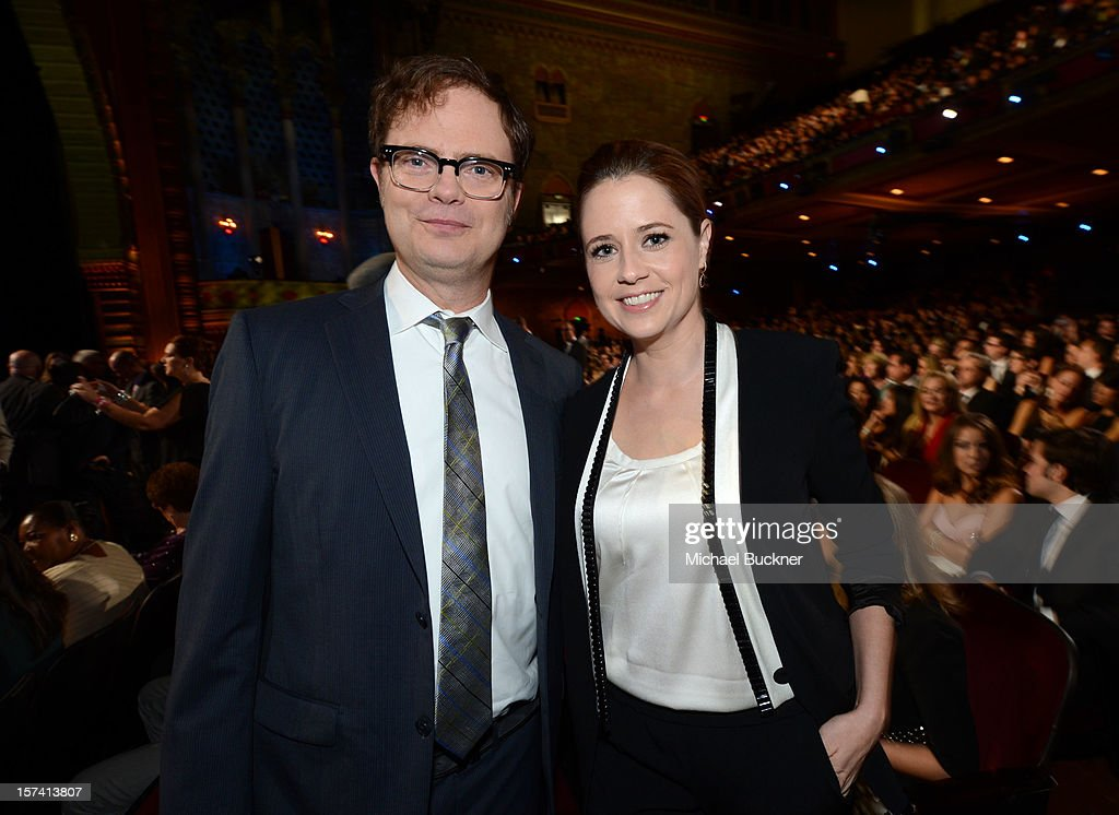 Actors <a gi-track='captionPersonalityLinkClicked' href=/galleries/search?phrase=Rainn+Wilson&family=editorial&specificpeople=534993 ng-click='$event.stopPropagation()'>Rainn Wilson</a> and <a gi-track='captionPersonalityLinkClicked' href=/galleries/search?phrase=Jenna+Fischer&family=editorial&specificpeople=274744 ng-click='$event.stopPropagation()'>Jenna Fischer</a> attend the CNN Heroes: An All Star Tribute at The Shrine Auditorium on December 2, 2012 in Los Angeles, California. 23046_005_MB_0053.JPG