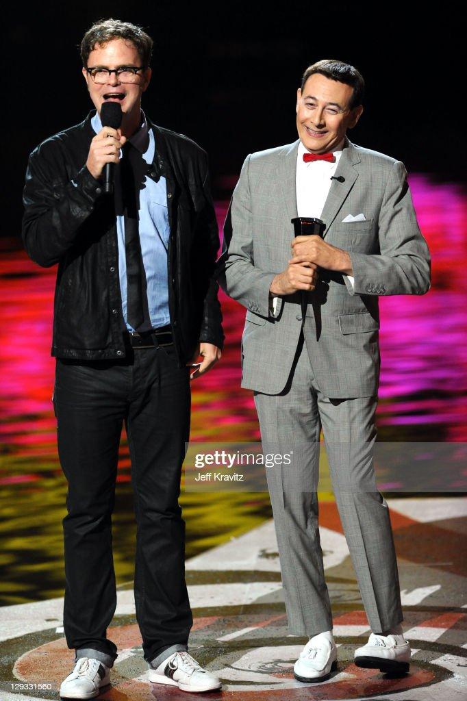 Actors Rainn Wilson and Paul Reubens aka 'Peewee Herman' onstage during Spike TV's 'Scream 2011' at Universal Studios on October 15 2011 in Universal...