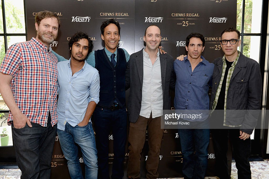 Actors Rainn Wilson, Kunal Nayyar, Danny Pudi, Tony Hale, Chris Messina and Fred Armisen attend the Variety Emmy Studio at Palihouse on May 29, 2013 in West Hollywood, California.