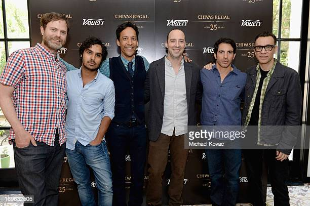 Actors Rainn Wilson Kunal Nayyar Danny Pudi Tony Hale Chris Messina and Fred Armisen attend the Variety Emmy Studio at Palihouse on May 29 2013 in...