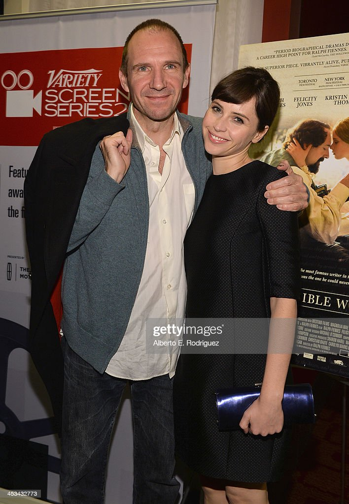Actors Ralph Fiennes and Felicity Jones attend the 2013 Variety Screening Series of 'The Invisible Woman' at ArcLight Cinemas on December 3, 2013 in Hollywood, California.