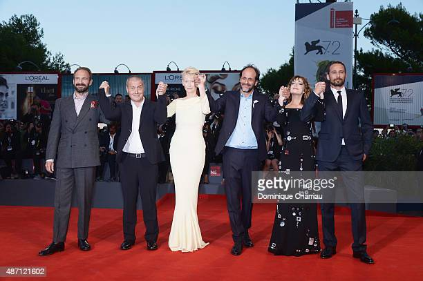 Actors Ralph Fiennes Corrado Guzzanti Tilda Swinton director Luca Guadagnino actors Dakota Johnson and Matthias Schoenaerts attend a premiere for 'A...