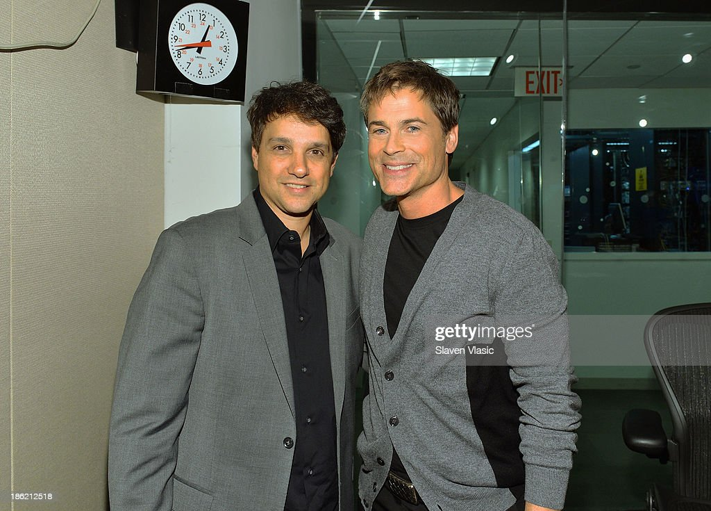 Actors <a gi-track='captionPersonalityLinkClicked' href=/galleries/search?phrase=Ralph+Macchio&family=editorial&specificpeople=235426 ng-click='$event.stopPropagation()'>Ralph Macchio</a> (L) and <a gi-track='captionPersonalityLinkClicked' href=/galleries/search?phrase=Rob+Lowe&family=editorial&specificpeople=211607 ng-click='$event.stopPropagation()'>Rob Lowe</a> visit SiriusXM Studios on October 29, 2013 in New York City.