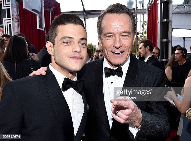 Actors Rami Malek and Bryan Cranston attend the 22nd Annual Screen Actors Guild Awards at The Shrine Auditorium on January 30 2016 in Los Angeles...