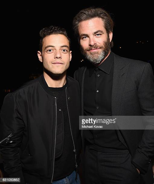 Actors Rami Malek and Chris Pine attend W Magazine Celebrates the Best Performances Portfolio and the Golden Globes with Audi and Moet Chandon at...
