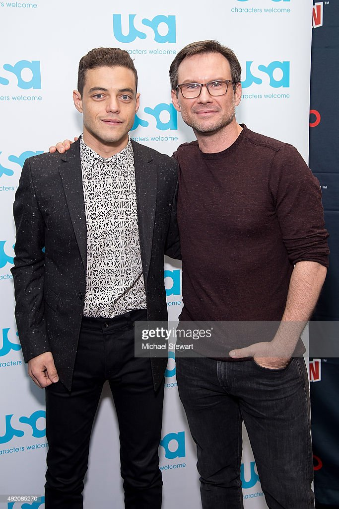 Actors Rami Malek (L) and Christian Slater pose in the press room for the 'Mr. Robot' panel during New York Comic-Con Day 2 at The Jacob K. Javits Convention Center on October 9, 2015 in New York City.