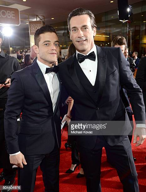 Actors Rami Malek and Jon Hamm attend the 73rd Annual Golden Globe Awards held at the Beverly Hilton Hotel on January 10 2016 in Beverly Hills...