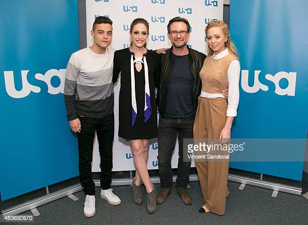 Actors Rami Malek Carly Chaikin Christian Slater and Portia Doubleday attend SAG Foundation's 'Conversations' series screening of 'Mr Robot' at SAG...