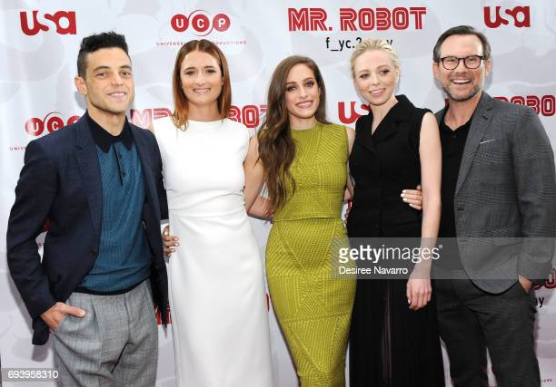 Actors Rami Malek Grace Gummer Carly Chaikin Portia Doubleday and Christian Slater attend 'Mr Robot' FYC Screening at The Metrograph on June 8 2017...