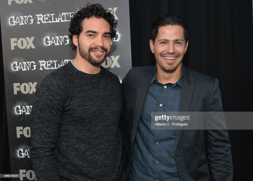 Actors <a gi-track='captionPersonalityLinkClicked' href=/galleries/search?phrase=Ramon+Rodriguez&family=editorial&specificpeople=73608 ng-click='$event.stopPropagation()'>Ramon Rodriguez</a> and <a gi-track='captionPersonalityLinkClicked' href=/galleries/search?phrase=Jay+Hernandez&family=editorial&specificpeople=646150 ng-click='$event.stopPropagation()'>Jay Hernandez</a> arrive to the premiere of Fox's 'Gang Releted' at Homeboy Industries on April 21, 2014 in Los Angeles, California.