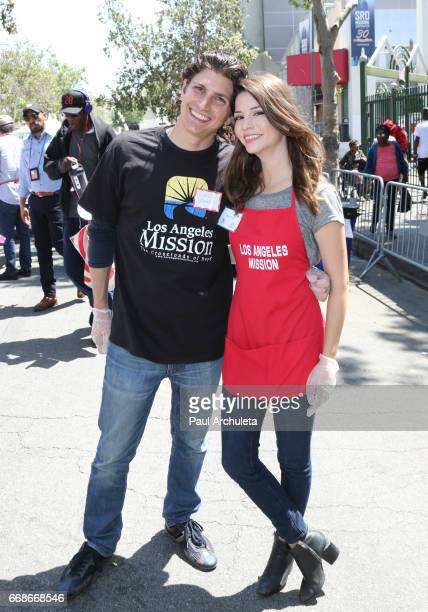 Actors Ramzi Habibi and Masiela Lusha attend the Los Angeles Mission's Easter Celebration at Los Angeles Mission on April 14 2017 in Los Angeles...