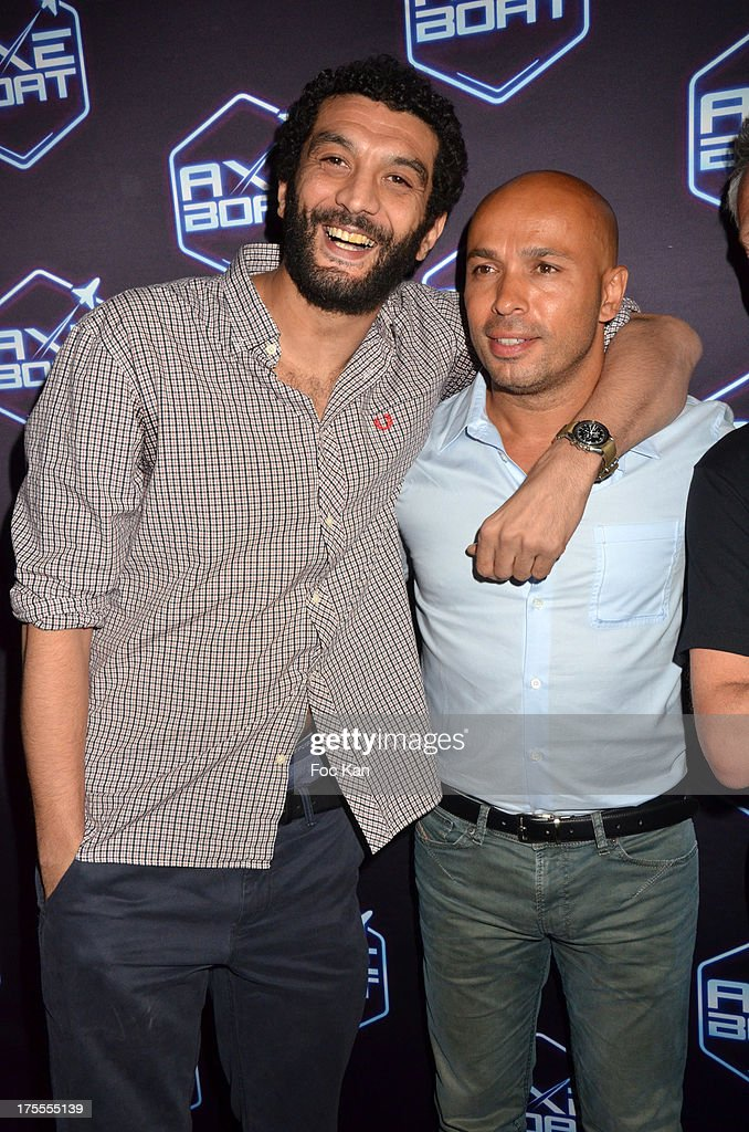 Actors <a gi-track='captionPersonalityLinkClicked' href=/galleries/search?phrase=Ramzy+Bedia&family=editorial&specificpeople=766846 ng-click='$event.stopPropagation()'>Ramzy Bedia</a> and Eric Judor attend the Axe Boat 2013 Launch Party at Cannes Harbourg on August 3, 2013 in Saint Tropez, France.