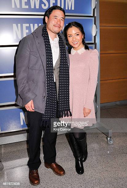 Actors Randall Park and Constance Wu pose for photos during the 'Fresh Off The Boat' Washington DC Screening at The Newseum on January 21 in...