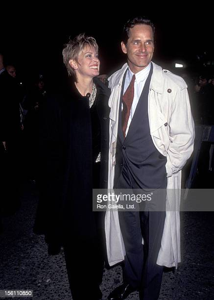 Actors Randi Oakes and Gregory Harrison attend the 'Picasso at the Lapin Agile' Opening Night Performance on October 22 1995 at Promenade Theatre in...