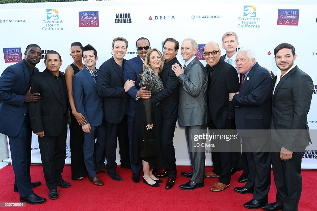 Actors Ransford Dougherty, Raymond Cruz, Kearran Giovanni, Jonathan Del Arco, Jon Tenney, Bill Bochtrup, Tony Denison, Graham Patrick Martin, Michael Paul Chan, Kathe Mazur and GW Bailey attend Covenant House Of California's Annual Fundraising Gala, A Night Honoring Our Stars at The Globe Theatre at Universal Studios on April 30, 2016 in Universal City, California.