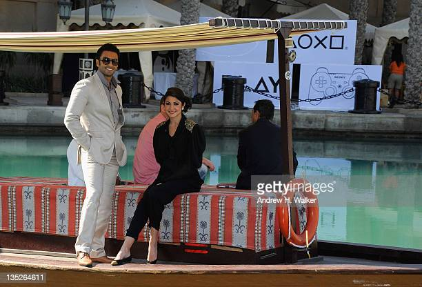 Actors Ranveer Singh and Anushka Sharma arrive for the 'Ladies vs Ricky Bahl' photocall during day two of the 8th Annual Dubai International Film...