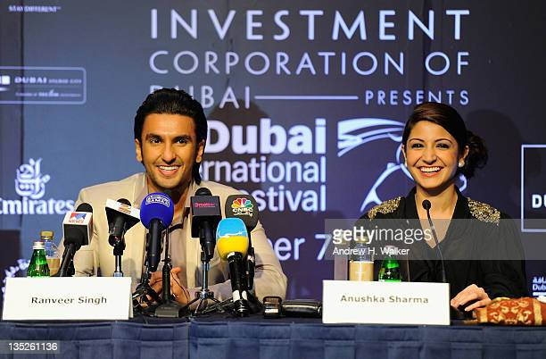 Actors Ranveer Singh and Anushka Sharma attend the 'Ladies vs Ricky Bahl' press conference during day two of the 8th Annual Dubai International Film...