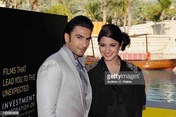 Actors Ranveer Singh and Anushka Sharma attend the 'Ladies vs Ricky Bahl' photocall during day two of the 8th Annual Dubai International Film...