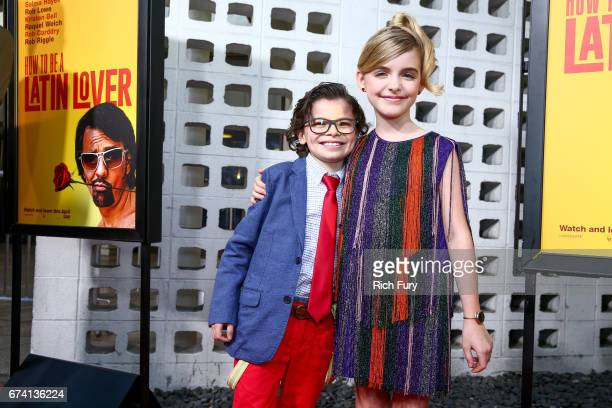 Actors Raphael Alejandro and Mckenna Grace attend the premiere of 'How To Be A Latin Lover' on April 26 2017 in Los Angeles California