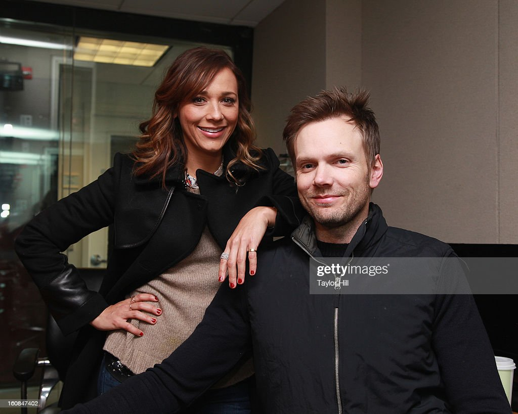 Actors <a gi-track='captionPersonalityLinkClicked' href=/galleries/search?phrase=Rashida+Jones&family=editorial&specificpeople=2133481 ng-click='$event.stopPropagation()'>Rashida Jones</a> and <a gi-track='captionPersonalityLinkClicked' href=/galleries/search?phrase=Joel+McHale&family=editorial&specificpeople=754384 ng-click='$event.stopPropagation()'>Joel McHale</a> visit SiriusXM Studios on February 6, 2013 in New York City.