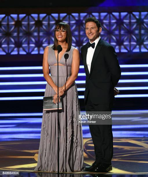 Actors Rashida Jones and Mark Feuerstein speak onstage during the 69th Annual Primetime Emmy Awards at Microsoft Theater on September 17 2017 in Los...