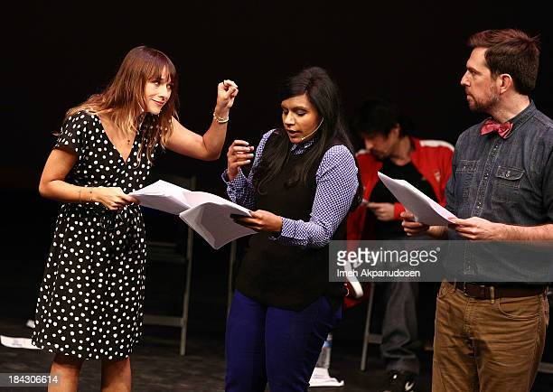 Actors Rashida Jones Mindy Kaling and Ed Helms perform onstage at The Young Storytellers Foundation's Annual 'Biggest Show' on October 12 2013 in...