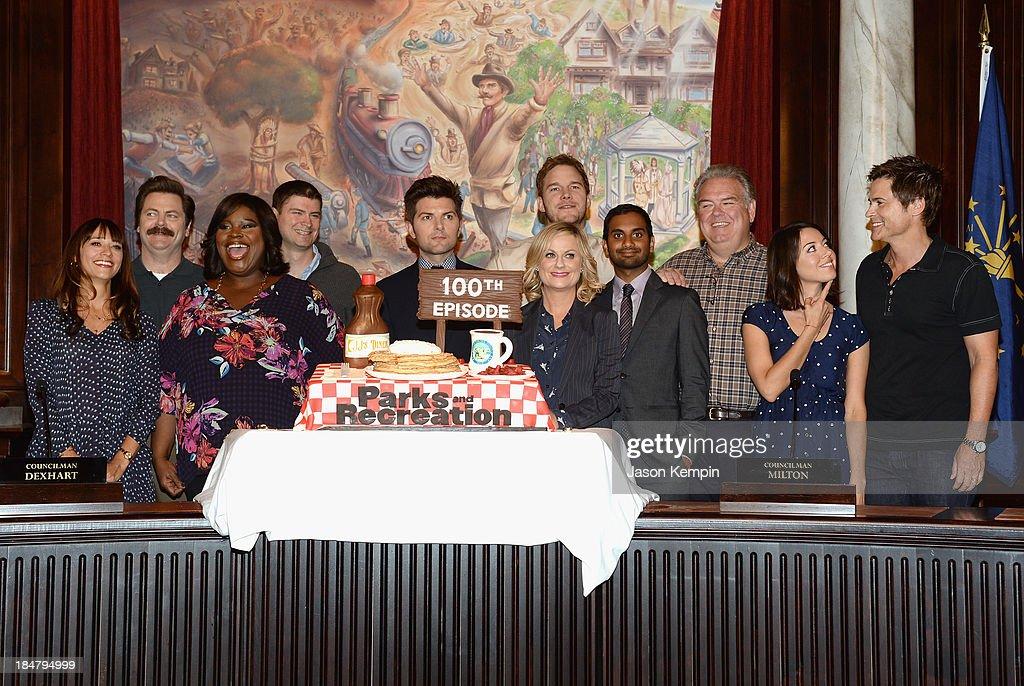 Actors <a gi-track='captionPersonalityLinkClicked' href=/galleries/search?phrase=Rashida+Jones&family=editorial&specificpeople=2133481 ng-click='$event.stopPropagation()'>Rashida Jones</a>, <a gi-track='captionPersonalityLinkClicked' href=/galleries/search?phrase=Nick+Offerman&family=editorial&specificpeople=3142027 ng-click='$event.stopPropagation()'>Nick Offerman</a>, Marietta Sirleaf, Michael Schur, <a gi-track='captionPersonalityLinkClicked' href=/galleries/search?phrase=Amy+Poehler&family=editorial&specificpeople=228430 ng-click='$event.stopPropagation()'>Amy Poehler</a>, <a gi-track='captionPersonalityLinkClicked' href=/galleries/search?phrase=Chris+Pratt+-+Actor&family=editorial&specificpeople=239084 ng-click='$event.stopPropagation()'>Chris Pratt</a>, <a gi-track='captionPersonalityLinkClicked' href=/galleries/search?phrase=Aziz+Ansari&family=editorial&specificpeople=4266146 ng-click='$event.stopPropagation()'>Aziz Ansari</a>, <a gi-track='captionPersonalityLinkClicked' href=/galleries/search?phrase=Jim+O%27Heir&family=editorial&specificpeople=6317232 ng-click='$event.stopPropagation()'>Jim O'Heir</a>, <a gi-track='captionPersonalityLinkClicked' href=/galleries/search?phrase=Aubrey+Plaza&family=editorial&specificpeople=5299268 ng-click='$event.stopPropagation()'>Aubrey Plaza</a> and <a gi-track='captionPersonalityLinkClicked' href=/galleries/search?phrase=Rob+Lowe&family=editorial&specificpeople=211607 ng-click='$event.stopPropagation()'>Rob Lowe</a> attend the NBC 'Parks And Recreation' 100th Episode Celebration at CBS Studios - Radford on October 16, 2013 in Studio City, California.