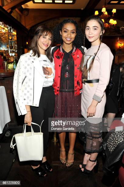 Actors Rashida Jones Yara Shahidi and Rowan Blanchard attend the Coach Rodarte celebration for their Spring 2017 Collaboration at Musso Frank on...