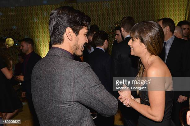 Actors Raul Castillo and Lea Michele attend the after party for the premiere of HBO's 'Looking' at Paramount Studios on January 15 2014 in Hollywood...