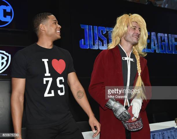 Actors Ray Fisher and Ezra Miller during the 'Justice League' autograph signing at ComicCon International 2017 at San Diego Convention Center on July...