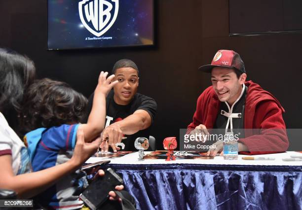 Actors Ray Fisher and Ezra Miller greet fans during the 'Justice League' autograph signing at ComicCon International 2017 at San Diego Convention...