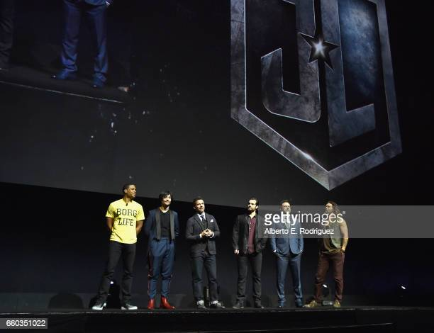 Actors Ray Fisher Ezra Miller director Zack Snyder actors Henry Cavill Ben Affleck and Jason Momoa at CinemaCon 2017 Warner Bros Pictures Invites You...